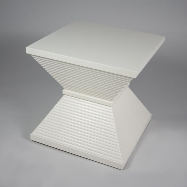 Ivory Lacquer Hourglass Figured Pedestal Table - Image 2 of 3