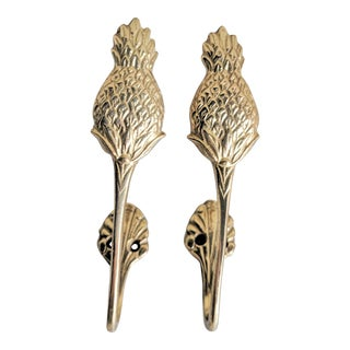Vintage Brass Pineapple Curtain Tie Backs - A Pair