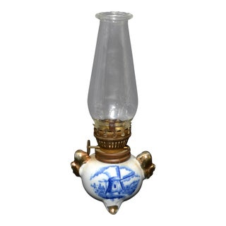Miniature Blue & White Oil Lamp