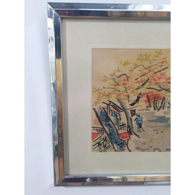 Mid Century Asian Framed Silk Prints - Pair - Image 6 of 8