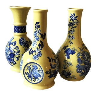 Spode Vintage Blue and Yellow Ceramic Bud Vases- Set of 3