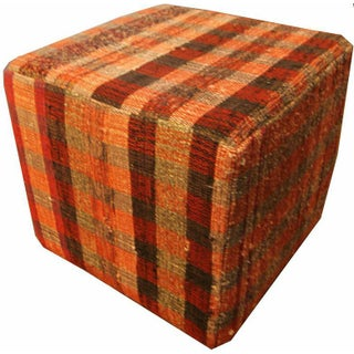 Plaid Cube Ottoman in Orange and Brown