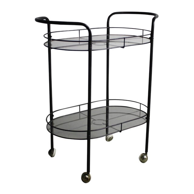 mid century modern 1960s metal glass bar cart chairish. Black Bedroom Furniture Sets. Home Design Ideas