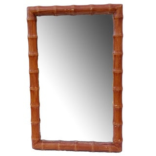 Vintage Faux Bamboo Wood Painted Hollywood Regency Style Rectangular Mirror