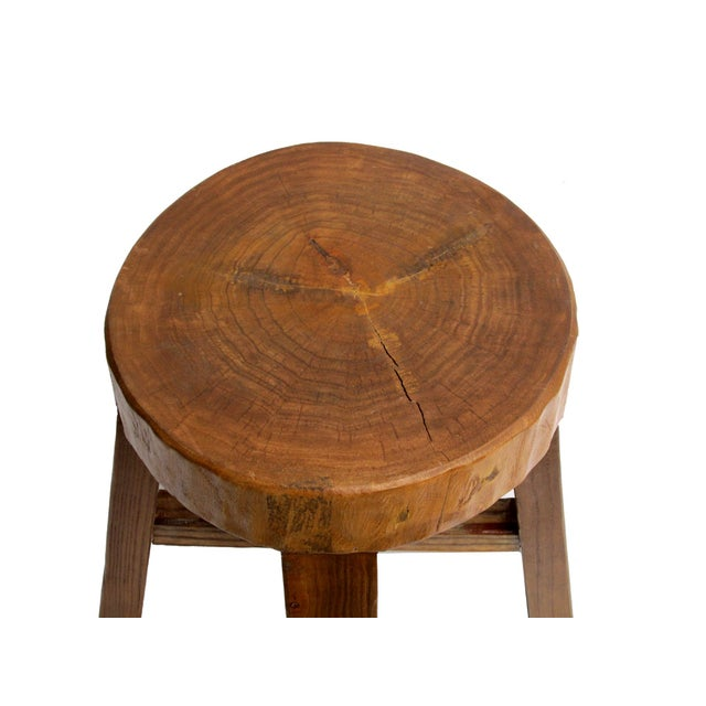 Image of Chinese Rustic Bold Wood Round Stool