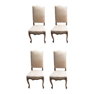 Louis XV Leather Dining Chairs - Set of 4