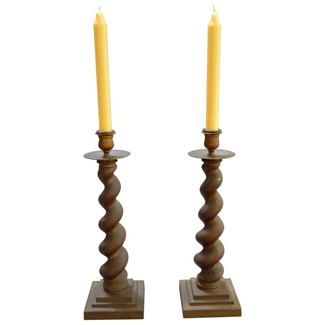 Vintage Brass Candlesticks - Pair - Image 1 of 8