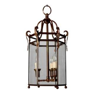 Tall 19th Century Dutch Three Light Bronze Lantern