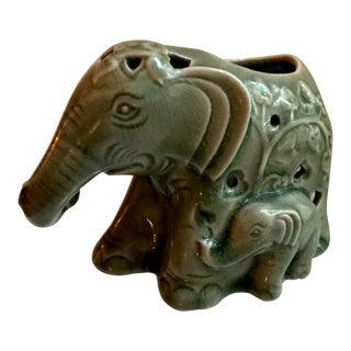 Vintage 1960s Thai Celadon Crackle Glaze Elephant Votive Candle Holder