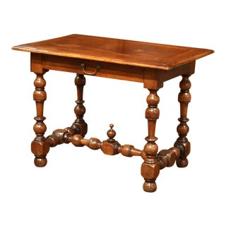 19th Century French Louis XIII Walnut Side Table with Turned Legs and Stretcher