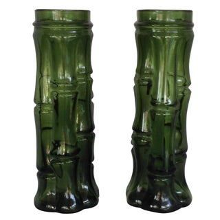 Vintage Faux Bamboo Green Glass Vases - A Pair