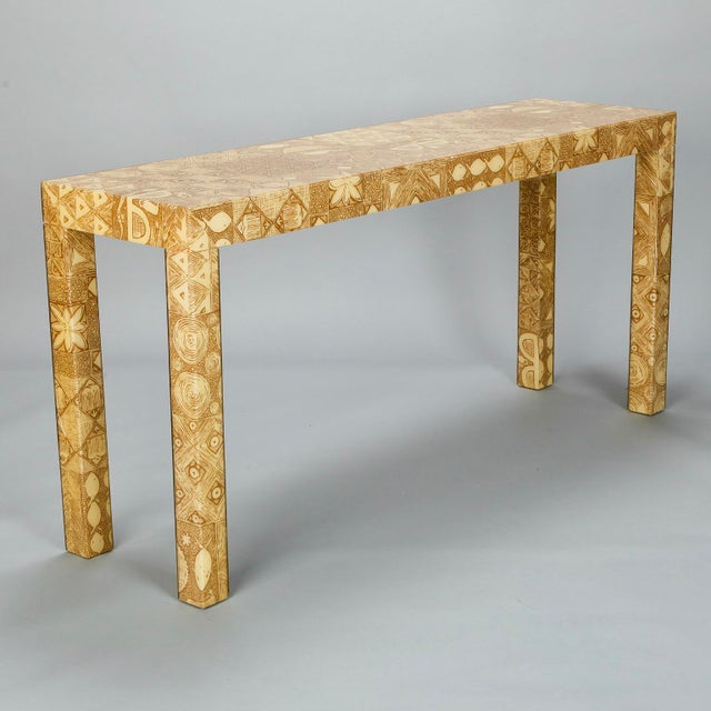 Mid-Century Acrylic Over Fabric Parsons Console Table - Image 3 of 9