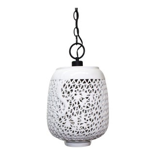 Pierced Porcelain Blanc De Chine Pendant Light