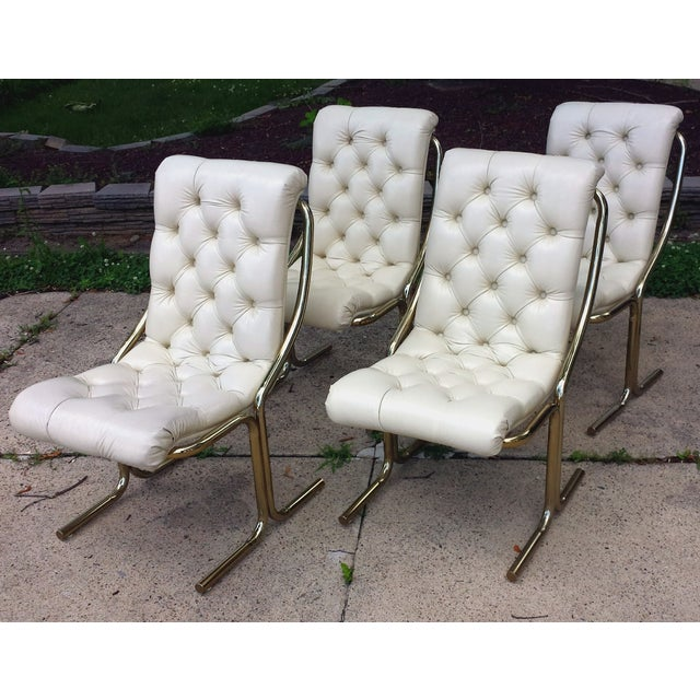Daystrom Tufted White Dining Chairs - Set of 4 - Image 2 of 10
