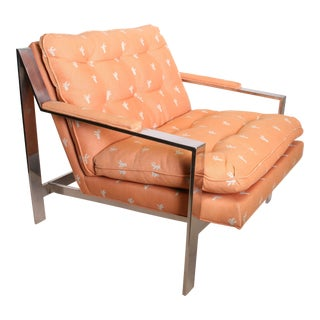Vintage Chrome Upholstered Arm Chair by Cy Mann