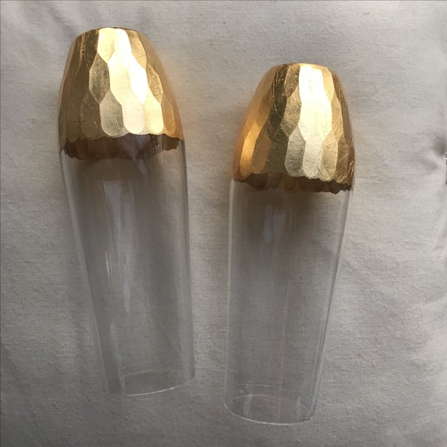 Gold Leaf Base Champagne Flutes - A Pair - Image 7 of 7