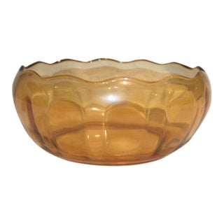 Retro Amber Glass Serving Bowl