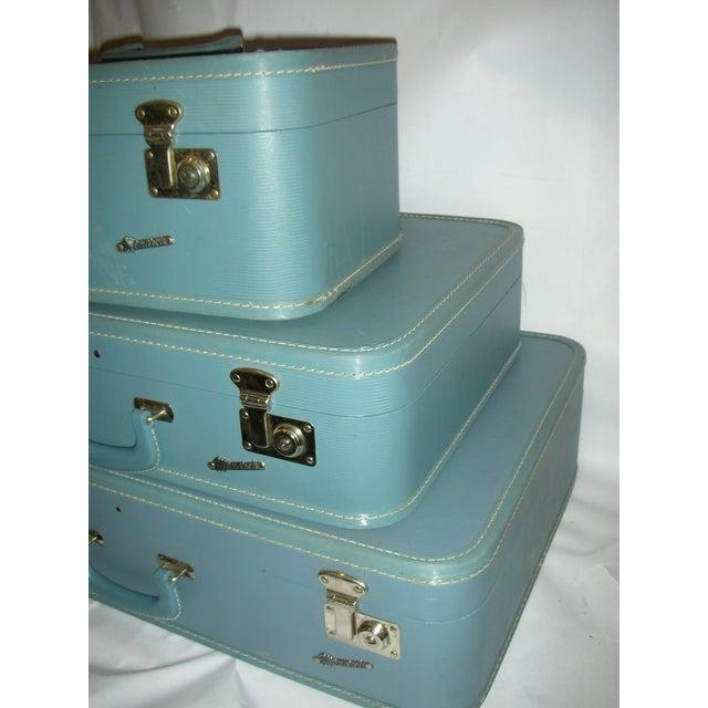 Image of 1950s Light Blue Luggage- Set of 3