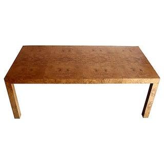 Milo Baughman Olive Burl Extending Parsons Table