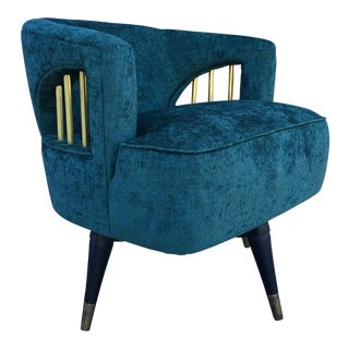 Mid-Century Green Velvet Brass Swivel Chair