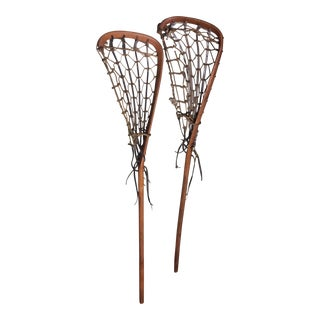 One Vintage Wood and Leather Lacrosse Stick - *** Only One Left****