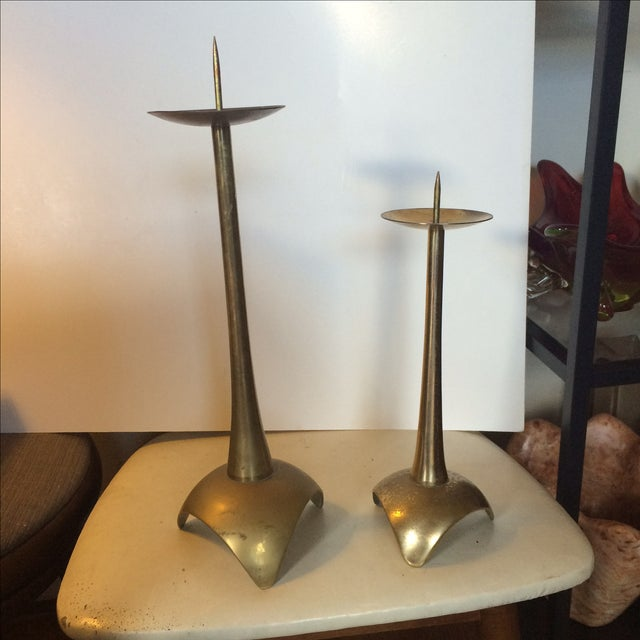 Image of Brass MCM Candlesticks - Pair