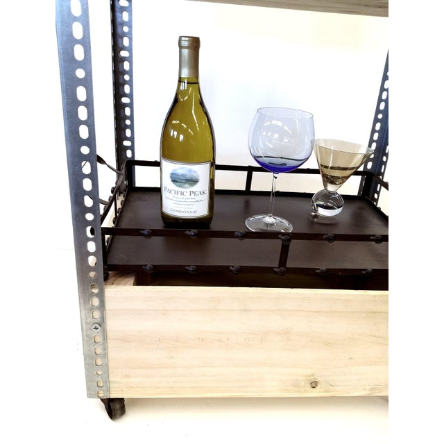 French Wine Box Industrial Bar Cart - Image 9 of 11