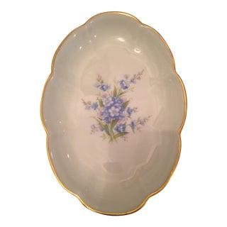 Vintage Limoges Blue Bouquet Trinket Dish