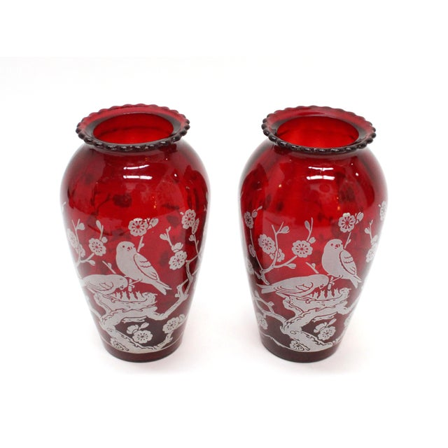 Image of Vintage Etched Cranberry Red Glass Vases - A Pair