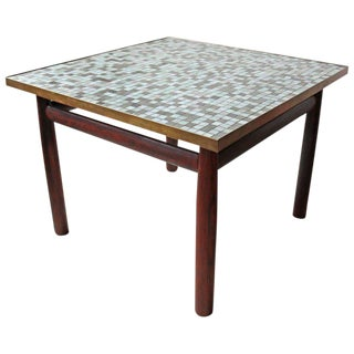 Edward Wormley Rosewood Occasional Table for Dunbar with Murano Glass Tile Top