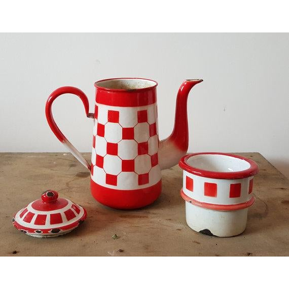 Red French Vintage Enamelware Coffee Pot - Image 3 of 4