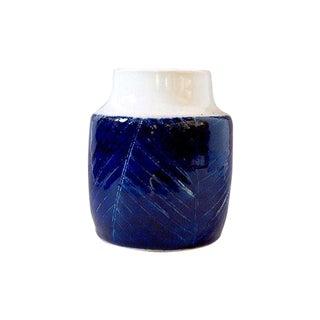 Small Cobalt Blue Etched Ceramic Vase