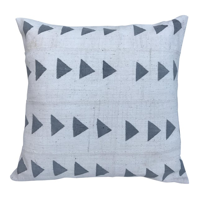 Grey & White Arrow Mud Cloth Textile Pillow - Image 1 of 6