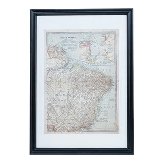 Antique Hand Colored Map of E. South America