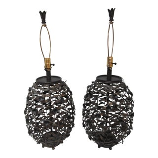 Large Tole Metal Floral Botanical Flowers & Leaves Lamps - Pair
