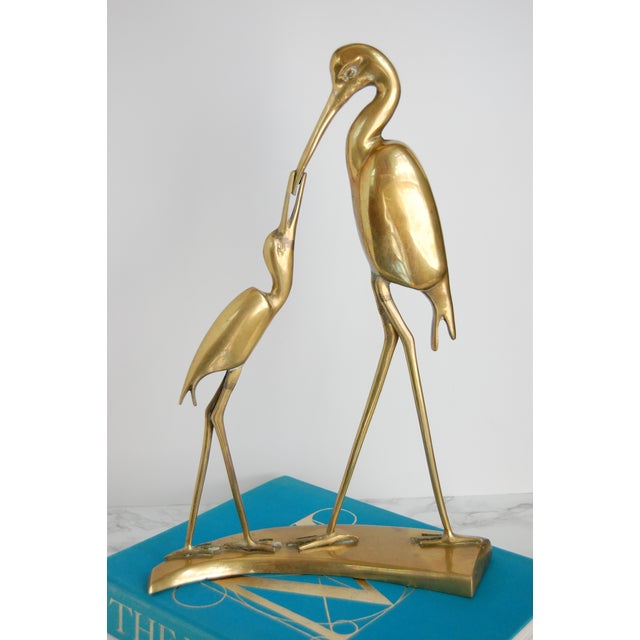 Image of Large Vintage Brass Crane Statue