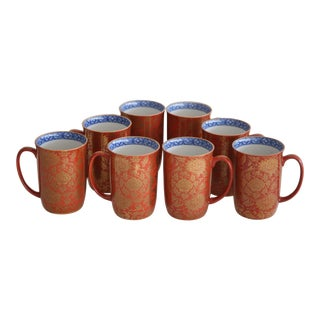 Vermillion and Gold Asian Mugs - Set of 8