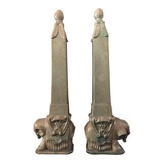 Chinese Style Elephant Obelisks - Pair