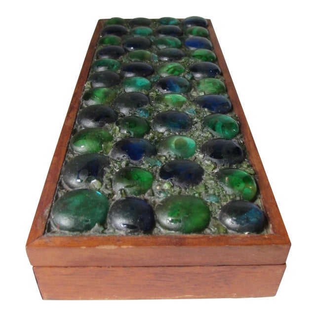 Mid-Century Glass Tiled Wood Box - Image 1 of 10