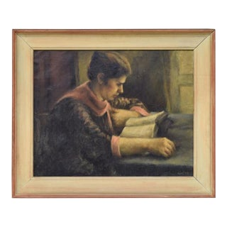 "Antique Oil Painting on Canvas ""Girl Reading"" by Ruth Gay"