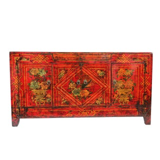 Mongolian Painted Red Sideboard