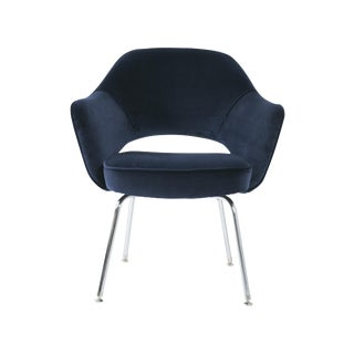 Saarinen for Knoll Executive Arm Chair in Navy Velvet