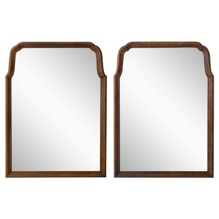 Mid-Century Arched Walnut Mirrors - A Pair