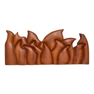 Abstract Wood Sculpture the Last Supper Signed Victor Rozo