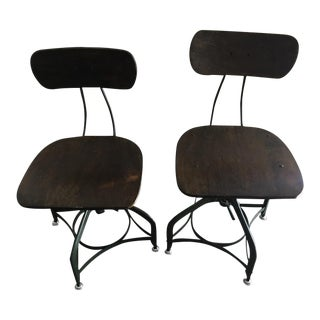 Restoration Hardware Contemporary Wood & Metal Swivel Bar Stools - A Pair