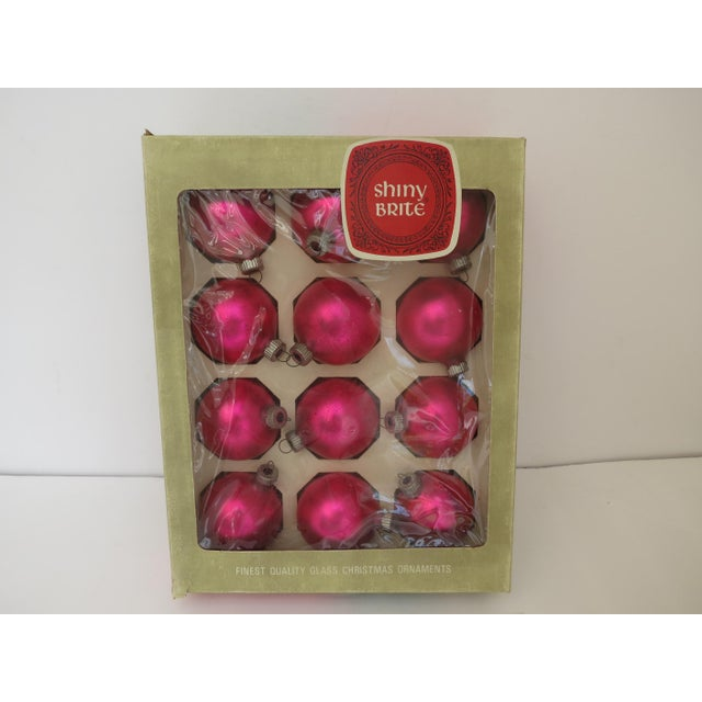 Vintage Shiny Brite Hot Pink Christmas Ornaments - Set of 12 - Image 5 of 5