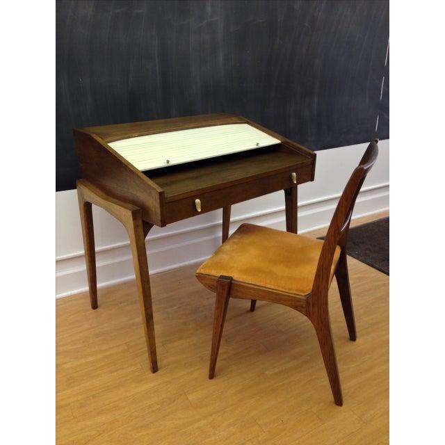 Drexel John Van Koert Roll Top Desk & Chair - Image 2 of 9