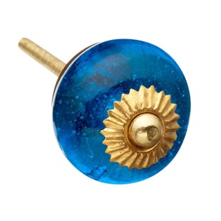 Blue Glass Round Knobs - Set of 6