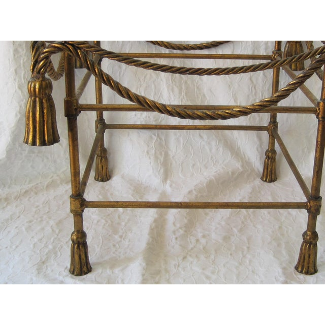 Mid-Century Italian Hollywood Regency Table With Gilt Cast Metal Rope Tassels Base Only - Image 4 of 9