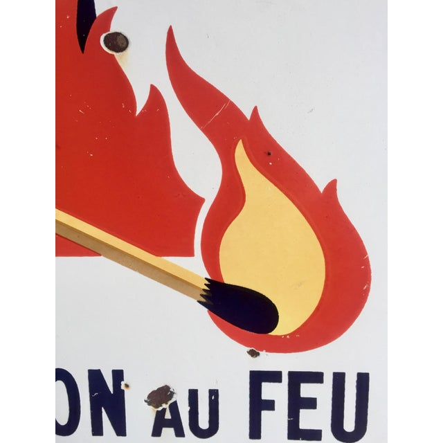 """Antique French Sign """"Attention Au Feu"""" - Image 6 of 8"""